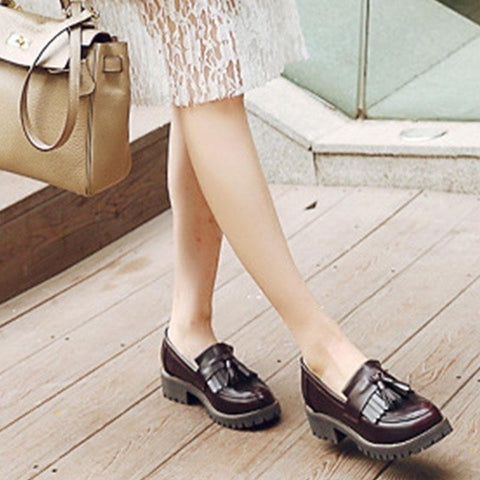 Retro shallow single shoes flat tassel women's shoes