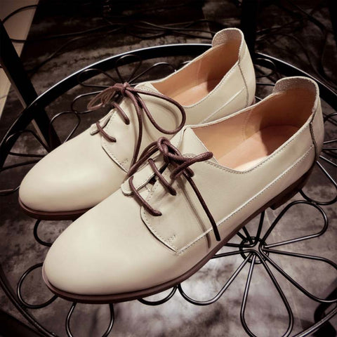 2019 autumn new leather strap casual leather round head flat shoes fashion single shoes