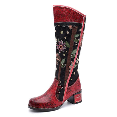 New casual vintage ethnic leather women's boots and knee women's boots