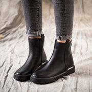 Winter new England style flat bottom plus velvet vintage cotton boots casual wild Martin boots