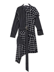 Asymmetric Long Sleeve Turn Down Collar Belt Plaid Stripes Casual Dresses