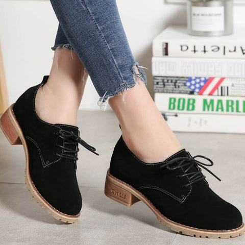 2019 autumn new fashion leather lace-up women's single shoes