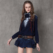 Winter new national wind embroidery buckle collar collar jacket
