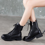 2019 autumn and winter new lace-up flat boots black casual wild Martin boots