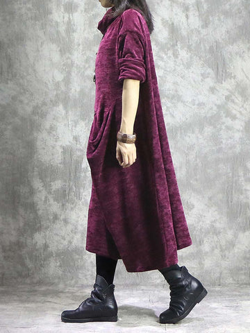 Vintage Patchwork High-Neck Long Sleeve Pocket Loose Thick Maxi Dresses