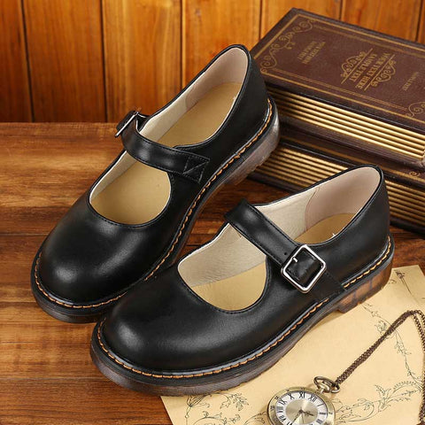 Handmade literary retro flat shoes low cut round leather shoes