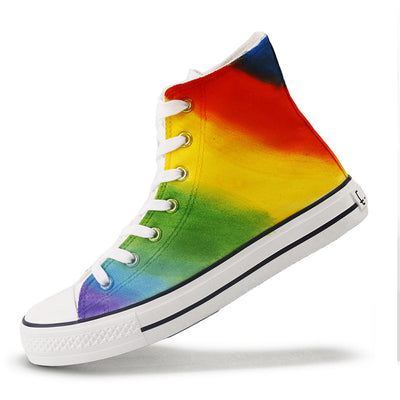 Rainbow hand-painted casual canvas tide shoes