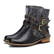 Ladies gypsy gothic style big round head casual retro motorcycle boots handmade flat leather boots