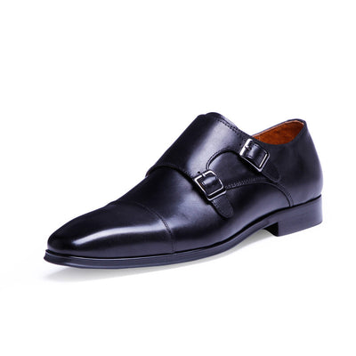 High-end Mengke leather genuine European and American high-end buckle plus size men's leather shoes
