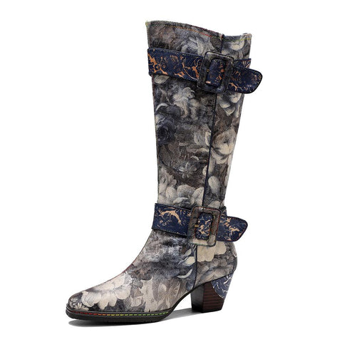 Retro Landscape Printing Belt Buckle Chunky Heel Round Toe Knee High Boots