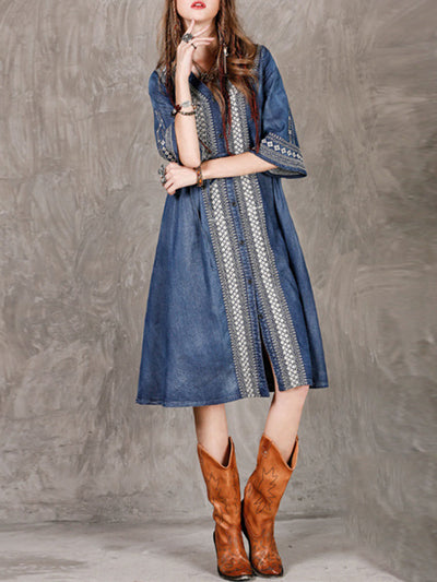 Ethic Embroidery Half Sleeve V-Neck Cardigan Buttons Denim Dresses
