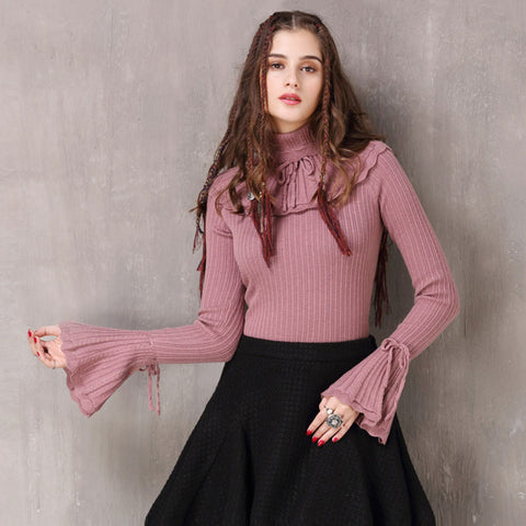 Autumn and winter new retro delivery set Slim slim sweater