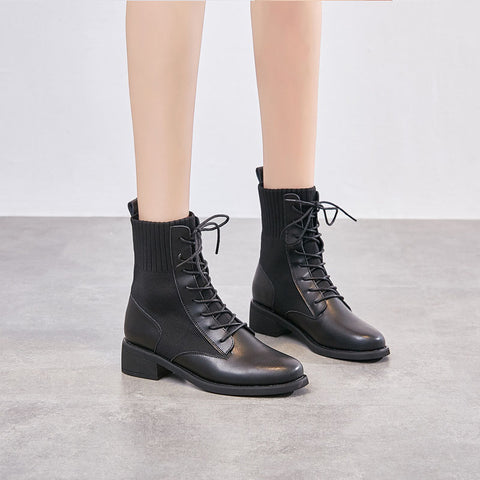 2019 new tide female wild knit Martin boots