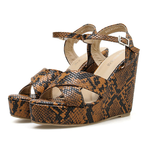 Snakeskin Cross Hollow Ankle Strap Platform Heel Buckle Summer Wedges