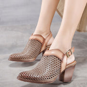 Hollow Point Toe Ankle Strap Buckle Chunky Heel Sandals
