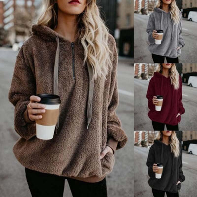 Autumn and winter loose long-sleeved hooded solid color women's sweater sweater coat