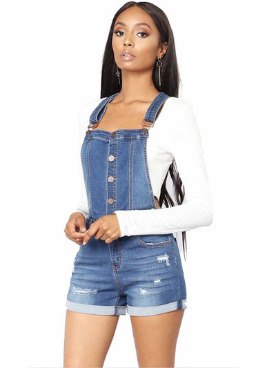 Cuffed high waist hip strap with holes in shorts