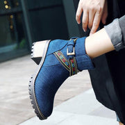 Ethic Embroidery Belt Zipper Chunky Heel Denim Ankle Boots