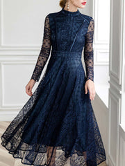 Vintage Hollow See-Through Long Sleeve A-Line High-Waist Lace Dresses