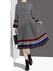 Plaid Round Neck Stripes Patchwork Knee-Length Long Sleeve Casual Dresses