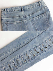 Light Blue Lace-Up Hollow Pocket High-Waist Slim Cotton Jeans