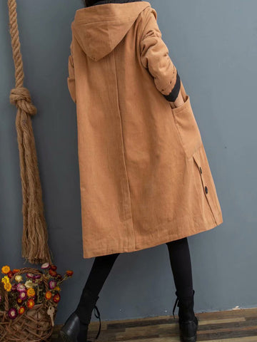2019 winter cotton solid color hooded art thickening ladies winter cotton padded cotton clothing