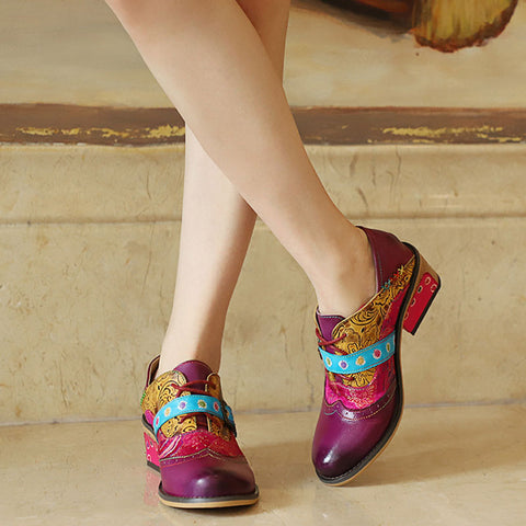 Bohemian Style Leather Patchwork Color Block Pumps