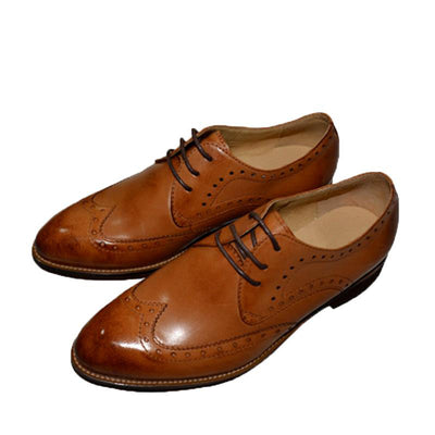 British Preppy Style Lace-Up Patchwork Leather Loafers