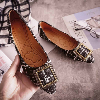 Shallow mouth buckle flat bottom rhinestone scoop shoes soft bottom peas shoes