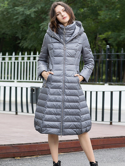 2019 winter new European and American style long knees slim thick hooded down jacket
