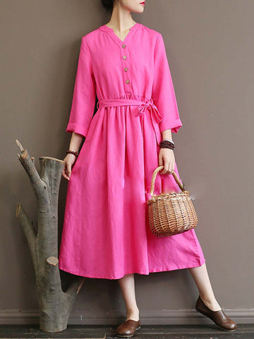 Solid Color Long Sleeve V-Neck Button Lace-Up Linen & Cotton Dresses