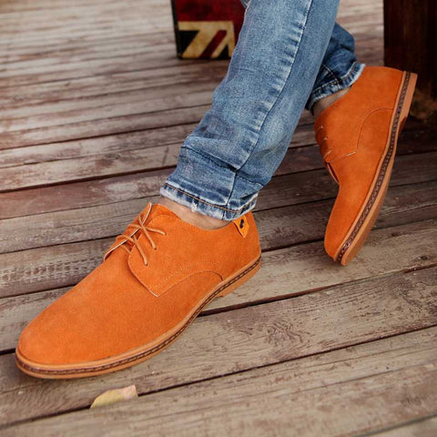 Solid color men's casual lace suede shoes