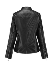 2019 new stand collar PU leather female jacket women's leather temperament women's leather jacket