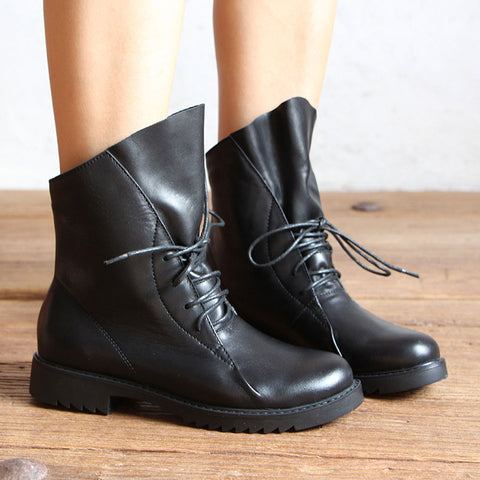 British Chunky Heel Asymmetric Lace-Up Round Toe Ankle Boots
