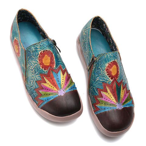Casual Leaf Leather Slip-On Sunflower Flat Heel Loafers