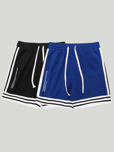 Side striped Men's elastic waist rope loose fit Shorts