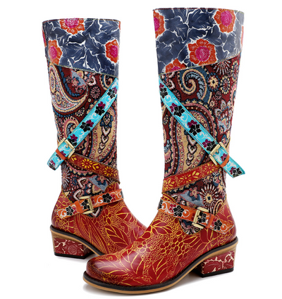 Original women's Gypsy style printed leather boots large size chunky heel knee-high boots