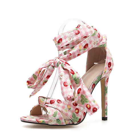 Bowknot Lace-Up Stiletto Heel Open Toe Floral Cloth Sandals