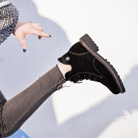Suede Lace-Up Rivet Chunky Heel Ankle Boots