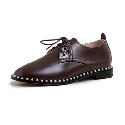 New round toe lace-up leather brogues flat open side breathable comfortable single shoes
