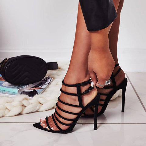 Suede Hollow Buckle Stiletto Heel Point Open Toe Sandals
