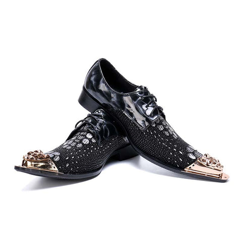 Black leather pointed shallow mouth low to help personality trend shoes