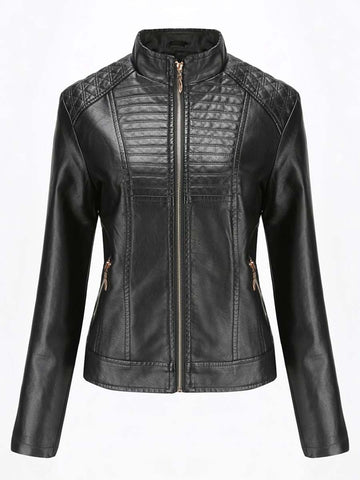 Women's leather jacket casual jacket solid color motorcycle clothing