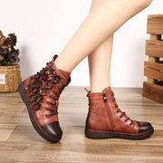 Leather casual lace color matching comfortable wild Martin boots