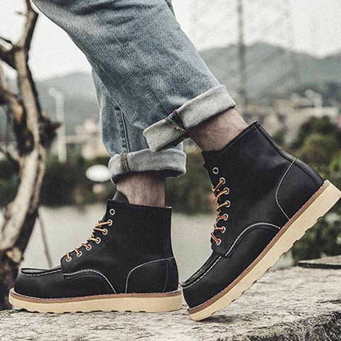 New Men's Leather Martin Leather Boots Desert Army Boots British Style Work Boots Plus Velvet High-Top Shoes