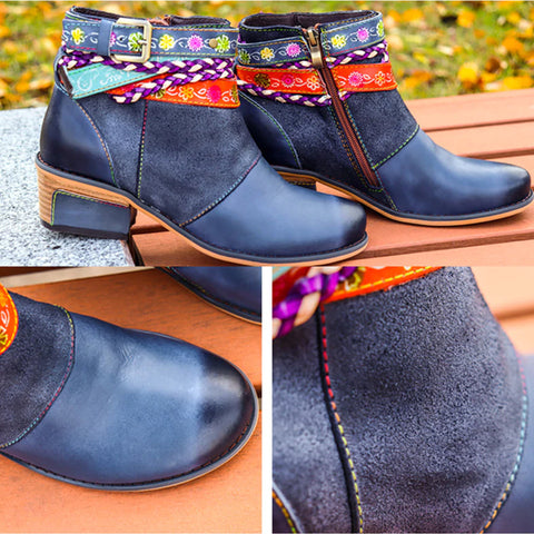 2019 Genuine Leather Women Boots Vintage Bohemian Ankle Boots Women Shoes Zipper Low Heel Ladies Shoes Woman Autumn Boots