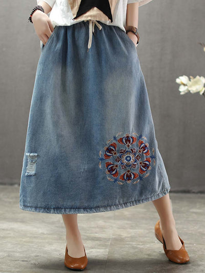 Ethic Embroidery Hole A-Line Lace-Up Denim Cotton Skirts