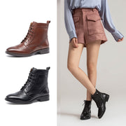 Autumn new Martin boots leather calf leather short tube casual women's boots