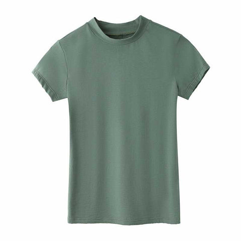 Cotton Slim Solid Color Short Sleeve