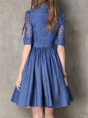 Turn Down Collar Lace See-Through Bowknot Button Denim Dresses